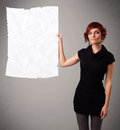 Young girl holding crumpled white paper copy space beautiful Royalty Free Stock Photo