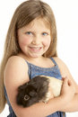 Young Girl Holding Pet Guinea Pig Stock Photography