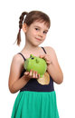Young girl holding piggybank isolated on white background Royalty Free Stock Photography