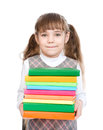 Young girl holding pile books. isolated on white background Royalty Free Stock Photo