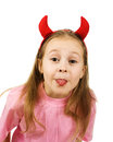 Young girl with horns imp on a white background Stock Image