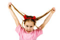 Young girl with horns imp on a white background Stock Photo