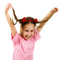 Young girl with horns imp on a white background Royalty Free Stock Images