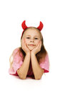 Young girl with horns imp on a white background Stock Images