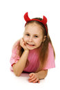 Young girl with horns imp on a white background Royalty Free Stock Image
