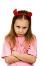 Young girl with horns imp on a white background Royalty Free Stock Photos