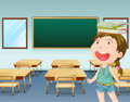 A young girl inside a classroom illustration of Stock Photography