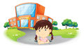 A young girl inside the hole in the road Royalty Free Stock Photo