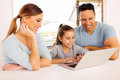 Young girl laptop parents beautiful using with her at home Stock Images