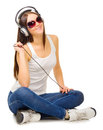 Young girl listen music Royalty Free Stock Images