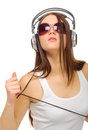 Young girl listen music Royalty Free Stock Photo