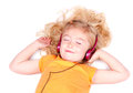 Young girl listening to music on headphones Royalty Free Stock Photo
