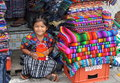 Young girl in market in Antigua, Guatemala. Royalty Free Stock Photography