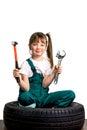 Young girl mechanic
