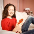 Young girl mobile phone Royalty Free Stock Photo
