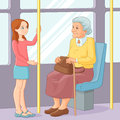Young girl offering a seat to an old lady in public transport. Vector illustration. Royalty Free Stock Photo