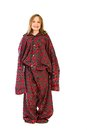 Young girl in over sized pajamas Stock Photos