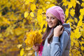 Young girl in a park in autumn with yellow leaves Stock Photo