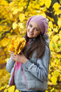 Young girl in a park in autumn with yellow leaves Stock Photography