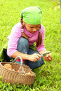 Young girl picking mushrooms Royalty Free Stock Photo