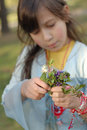 Young Girl Picking Wildflowers Royalty Free Stock Photo