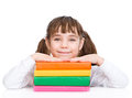 Young girl with pile books. isolated on white background Royalty Free Stock Photo