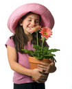 Young girl pink daisies Royalty Free Stock Photo