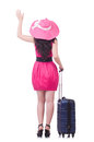 Young girl in pink dress travelling Stock Photo