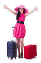 Young girl in pink dress travelling Stock Photos