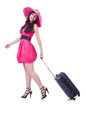 Young girl in pink dress travelling Royalty Free Stock Images