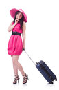 Young girl in pink dress travelling Royalty Free Stock Photo