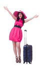 Young girl in pink dress travelling Royalty Free Stock Image