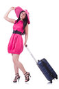 Young girl in pink dress travelling Stock Images
