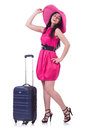 Young girl in pink dress travelling Royalty Free Stock Photography