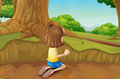 A young girl playing at the ground in the forest illustration of Stock Photography