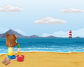 A young girl playing with the sand in the beach illustration of Stock Image