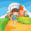 A young girl playing at the school ground illustration of Royalty Free Stock Photos
