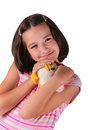 Young girl with plush toy Royalty Free Stock Images