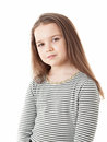 Young girl portrait of a charming little isolated against a white background Stock Images