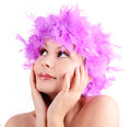 Young girl with purple wig from feathers Royalty Free Stock Images