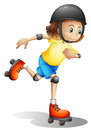 A young girl rollerskating illustration of on white background Royalty Free Stock Images