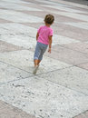Young girl run in marostica walls and castle near vicenza italy Stock Images