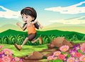 A young girl running hurriedly illustration of Stock Photo