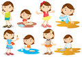 A young girl s daily activities illustration of on white background Royalty Free Stock Photos