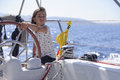 Young girl sailing boat Royalty Free Stock Photo