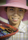 A young girl selling tourist goods in vietnam Stock Photography