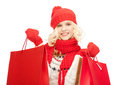 Young girl with shopping bags picture of Royalty Free Stock Photography