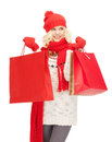 Young girl with shopping bags picture of Royalty Free Stock Photos