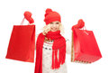 Young girl with shopping bags picture of Royalty Free Stock Image