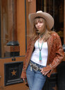 Young girl shopping western wear store Royalty Free Stock Photos